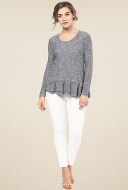 Femella Grey Ruffle Top
