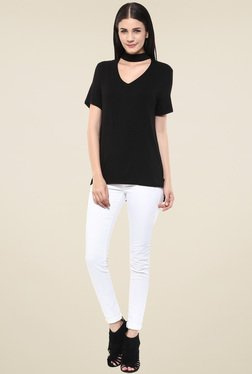 Femella Black Choker Neck Top