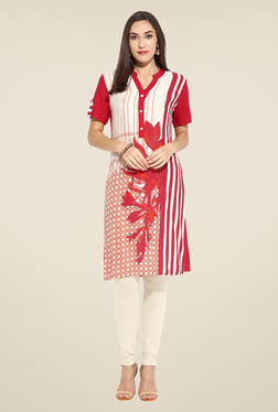 Mytri Beige & Red Printed Kurti