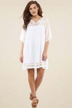Femella White Solid Mini Dress