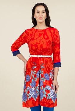 Desi Belle Red Floral Print Kurti