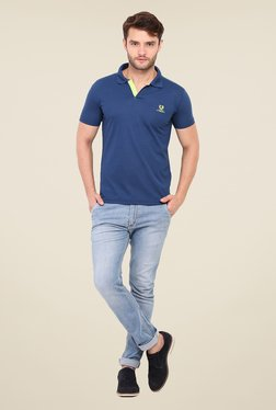Duke Stardust Navy Solid Polo T Shirt
