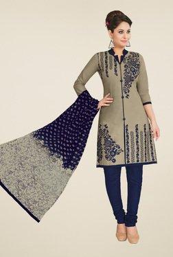 Salwar Studio Grey & Navy Blue Dress Material With Dupatta