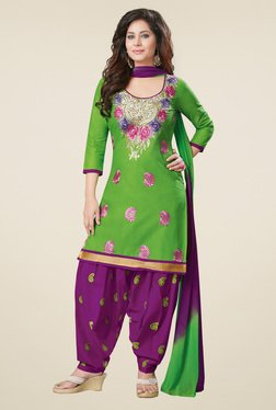 Salwar Studio Green & Purple Dress Material With Dupatta