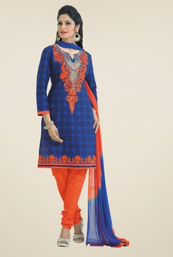 Salwar Studio Blue & Orange Dress Material With Dupatta