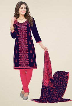 Salwar Studio Dark Blue & Pink Dress Material With Dupatta