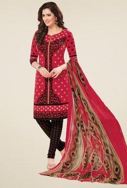 Salwar Studio Coral Red & Black Dress Material With Dupatta