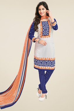Salwar Studio White & Blue Dress Material With Dupatta