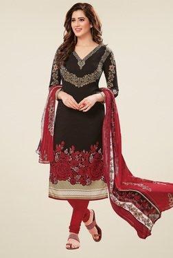 Salwar Studio Black & Maroon Dress Material With Dupatta