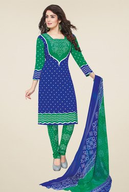 Salwar Studio Blue & Green Dress Material With Dupatta