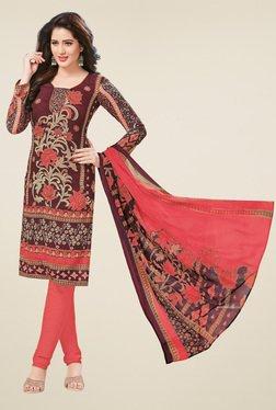 Salwar Studio Brown & Peach Dress Material With Dupatta