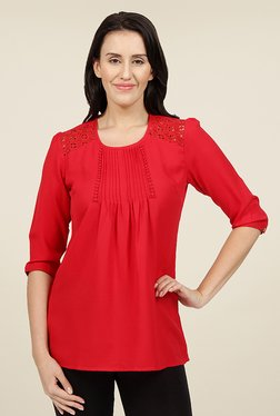 Desi Belle Red Solid Tunic