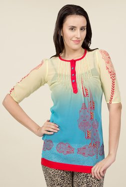 Desi Belle Turquoise & Beige Printed Tunic