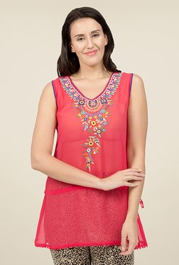 Desi Belle Coral Embroidered Tunic