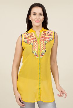 Desi Belle Yellow Embroidered Tunic
