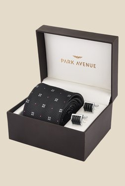 Park Avenue Black Printed Tie With Cufflinks
