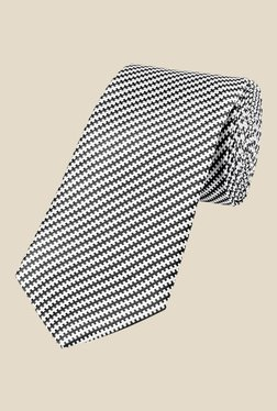 Park Avenue White And Black Striped Tie
