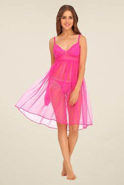 Clovia Pink Lace Baby Doll With Matching Thong - Mp000000000705250