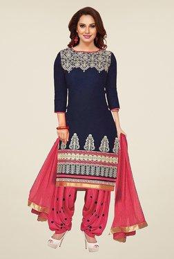 Ishin Royal Blue & Pink Printed French Crepe Dress Material