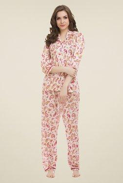 Clovia Beige Paisley Print Pyjama Set