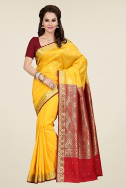 Ishin Yellow Printed Poly Silk Saree - Mp000000000705329