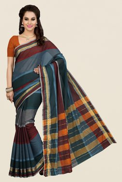Ishin Multicolor Striped Mercerised Silk Saree
