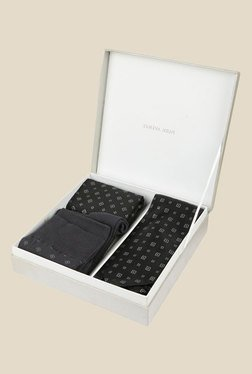 Park Avenue Black Tie With Pocket Square And Pair Of Socks - Mp000000000705349