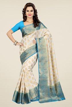 Ishin White Printed Poly Silk Saree