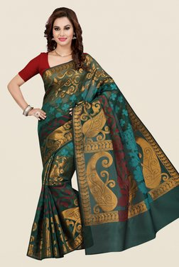 Ishin Green Printed Kora Silk Saree