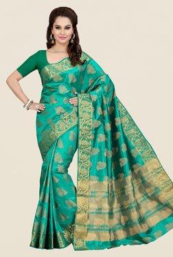 Ishin Green Printed Poly Silk Saree