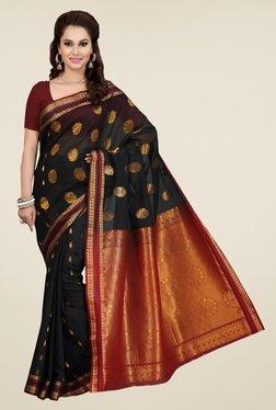 Ishin Black Printed Poly Cotton Saree