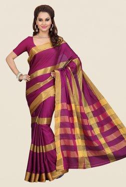 Ishin Magenta Striped Poly Silk Saree