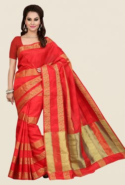 Ishin Red Striped Poly Silk Saree