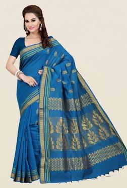 Ishin Blue Printed Poly Silk Saree
