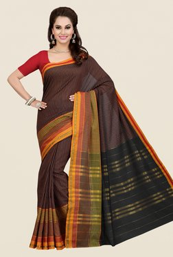 Ishin Brown & Black Striped Poly Cotton Saree