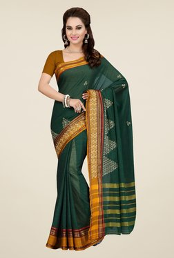 Ishin Green Embroidered Mercerised Silk Saree