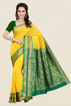 Ishin Yellow Printed Art Silk Saree