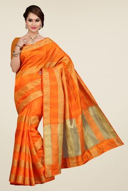 Ishin Orange Striped Poly Silk Saree