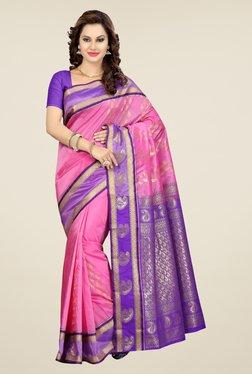 Ishin Pink Printed Art Silk Saree