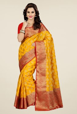Ishin Yellow Printed Poly Silk Saree