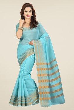 Ishin Blue Solid Kora Plain Saree