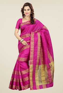Ishin Pink Striped Poly Silk Saree