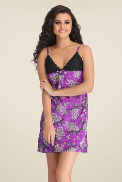 Clovia Purple Floral Print Baby Doll