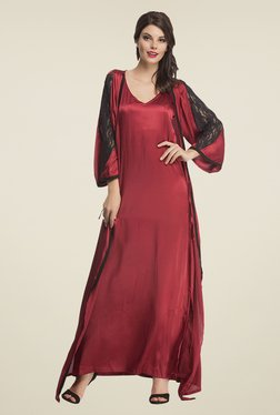 Clovia Maroon Solid Nightie With Robe
