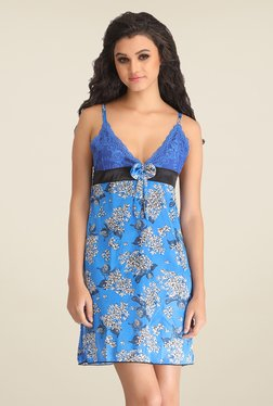Clovia Blue Floral Print Baby Doll - Mp000000000705654