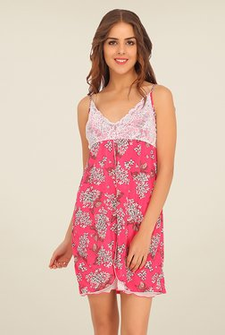 Clovia Pink Floral Print Baby Doll