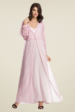 Clovia Pink Lace Nightie With Robe