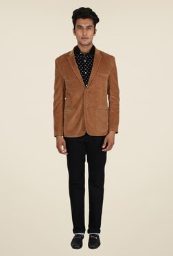 Easies Brown Solid Blazer