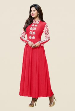 Ishin Red Embroidered Faux Georgette Semi Stitched Anarkali