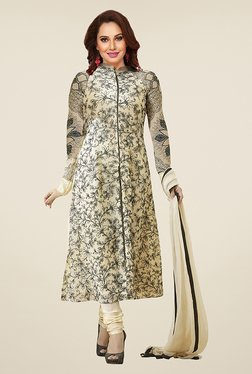 Ishin Beige Floral Print French Crepe Dress Material